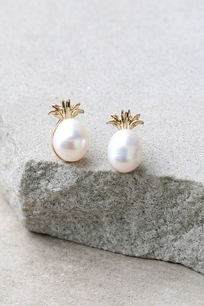 Fancy Fruit Gold and Pearl Pineapple Earrings at Lulus.com!