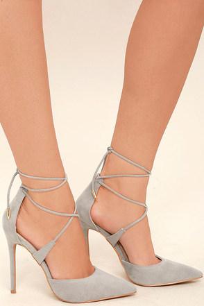 Dani Grey Suede Lace-Up Heels 1