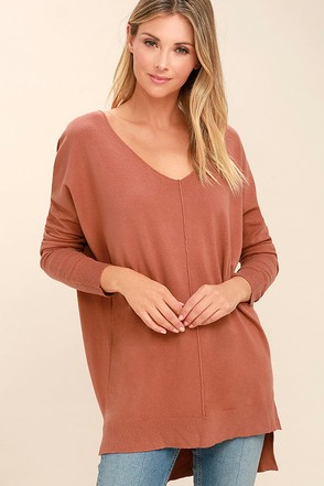 Feel the Magic Rust Orange V-Neck Sweater at Lulus.com!
