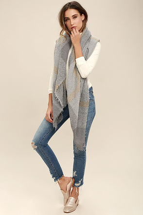Forest Route Grey Plaid Scarf at Lulus.com!