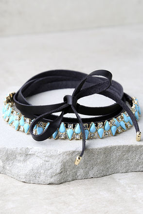 Dream Queen Turquoise and Black Rhinestone Wrap Necklace at Lulus.com!