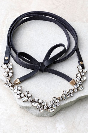 Telekinetic Black Rhinestone Wrap Necklace at Lulus.com!