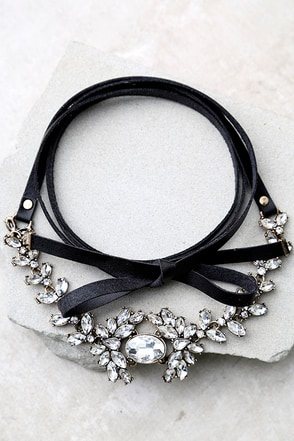 Otherworldly Charm Black Rhinestone Wrap Necklace at Lulus.com!
