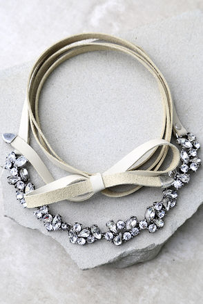 Telekinetic Beige Rhinestone Wrap Necklace at Lulus.com!