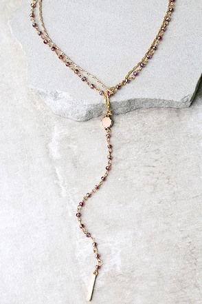 Uncanny Purple and Gold Layered Necklace at Lulus.com!
