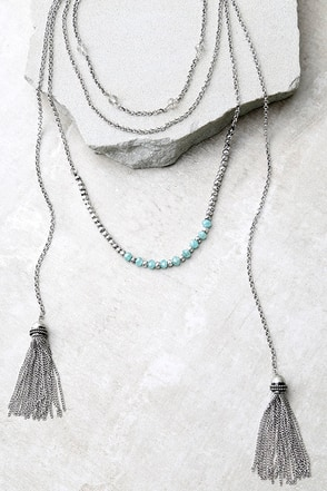 Extraordinary Talent Blue and Silver Layered Necklace at Lulus.com!