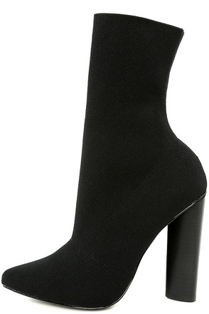 Steve Madden Capitol Black Knit Mid-Calf High Heel Boots at Lulus.com!
