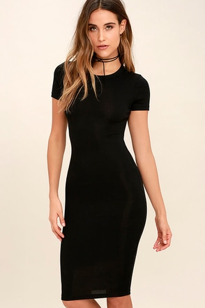 Like Minded Black Bodycon Midi Dress at Lulus.com!