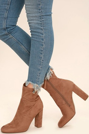 Steve Madden Edit Taupe Suede High Heel Mid-Calf Boots at Lulus.com!