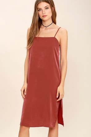 In Action Rust Red Satin Slip Dress at Lulus.com!