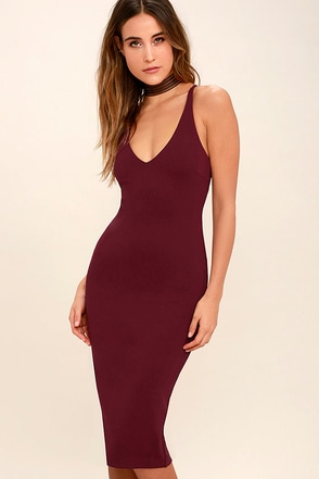 Mink Pink Magma Wine Red Bodycon Midi Dress at Lulus.com!
