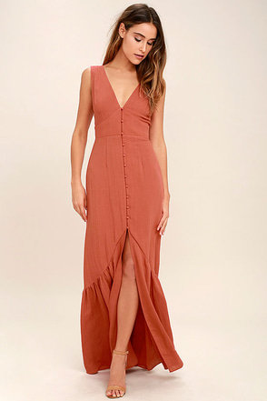 Simpatico Rust Orange Maxi Dress at Lulus.com!