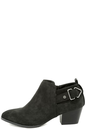 Trenna Black Nubuck Ankle Booties at Lulus.com!