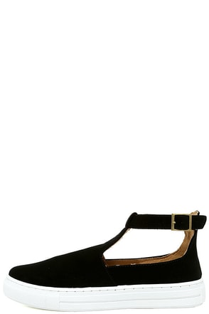 Anna Black Nubuck T-Strap Sneakers at Lulus.com!