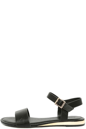 Tierney Black Wedge Sandals at Lulus.com!