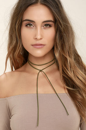 Tied Me Over Olive Green Wrap Necklace at Lulus.com!