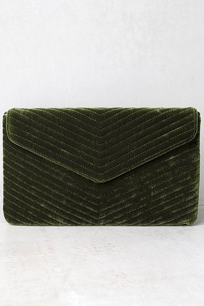 Keep it Poppin' Olive Green Velvet Clutch at Lulus.com!