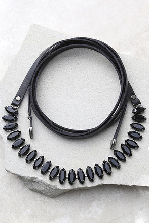Same Wavelength Black Wrap Necklace at Lulus.com!