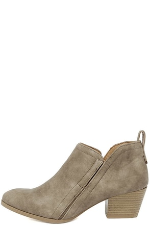 Tanesha Taupe Ankle Booties at Lulus.com!