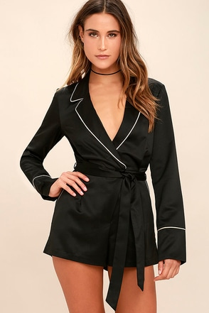 Morning Star Blush Pink Satin Long Sleeve Romper at Lulus.com!