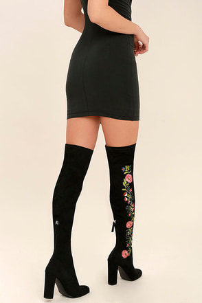 Steve Madden Envoke Black Suede Embroidered Over the Knee Boots at Lulus.com!