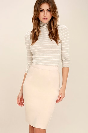 Superpower Light Beige Suede Pencil Skirt at Lulus.com!