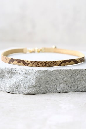 Vanessa Mooney Piper Tan Snake Print Leather Choker Necklace 1