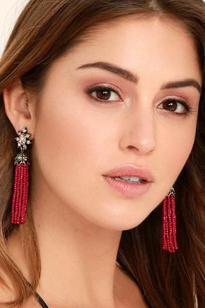 Faithfully Red Beaded Tassel Earrings 1