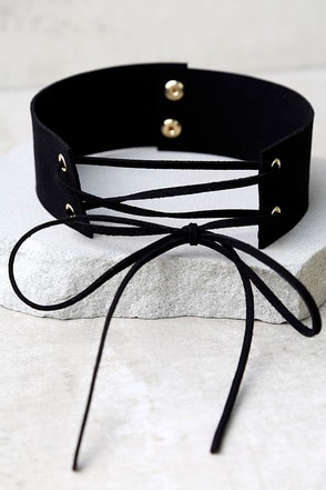 Be Good Black Lace-Up Choker Necklace at Lulus.com!
