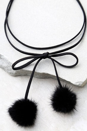 Dionne Black Pompom Wrap Necklace at Lulus.com!