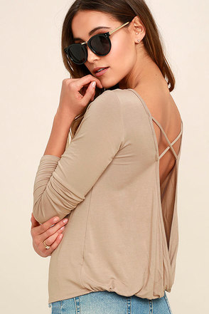 In a Day Wine Red Backless Long Sleeve Top at Lulus.com!