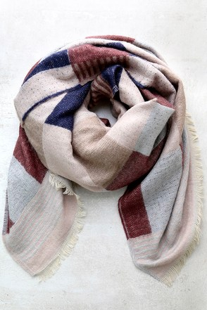 Favorite Forecast Navy Blue Print Scarf at Lulus.com!