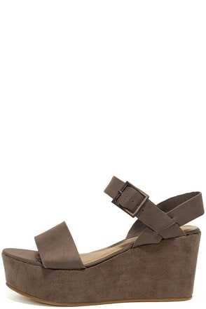 Aoife Taupe Suede Platform Wedge Sandals at Lulus.com!