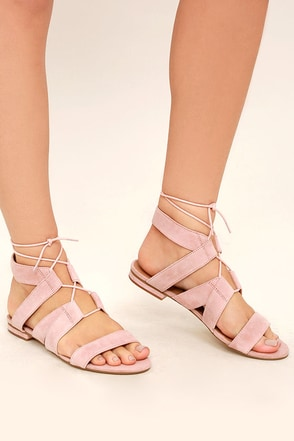 Steve Madden August Light Pink Suede Leather Lace-Up Sandals at Lulus.com!
