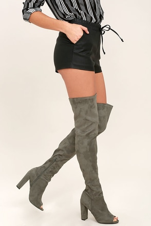 Aletha Dark Grey Suede Peep-Toe Thigh High Boots at Lulus.com!