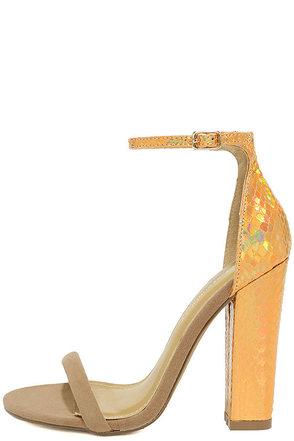 Oribe Nude Metallic Snakeskin Ankle Strap Heels at Lulus.com!