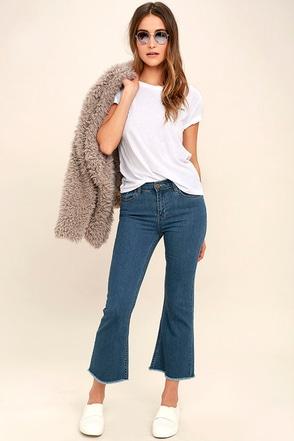 Amuse Society Coastline Medium Wash Cropped Flare Jeans 1