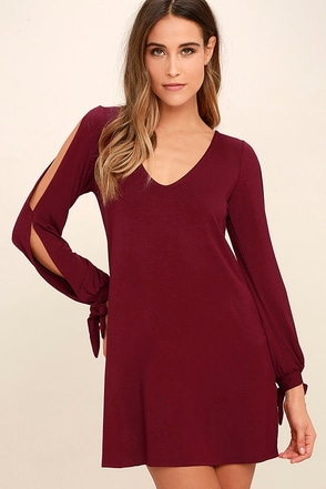 Glory of Love Wine Red Shift Dress at Lulus.com!