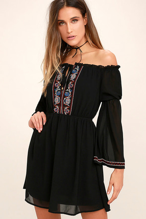 All the Frills Black Embroidered Off-the-Shoulder Dress at Lulus.com!