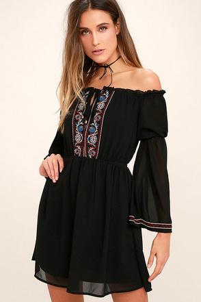 All the Frills Black Embroidered Off-the-Shoulder Dress at Lulus.com!