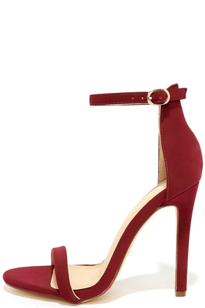 Almonaster Wine Nubuck Ankle Strap Heels at Lulus.com!