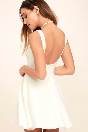 Call Me Anytime White Backless Skater Dress at Lulus.com!