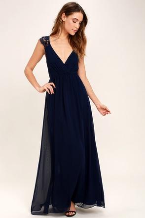 Whimsical Wonder Navy Blue Lace Maxi Dress 1