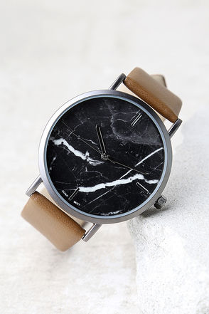 Clock Out Black and Brown Marble Watch 1
