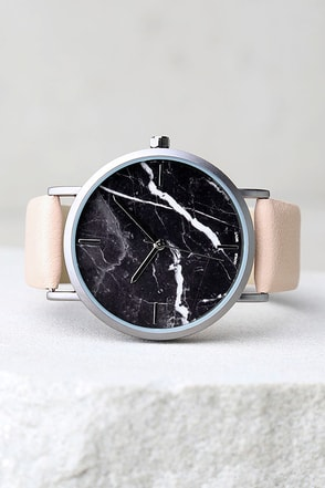 Clock Out Black and Blush Marble Watch 1