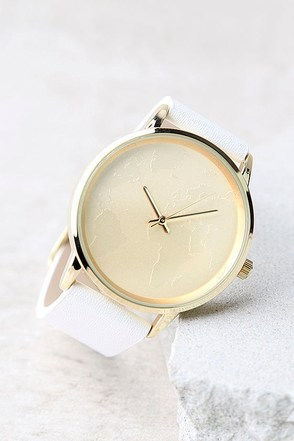 Chic White Watch Vegan Leather Watch White And Gold