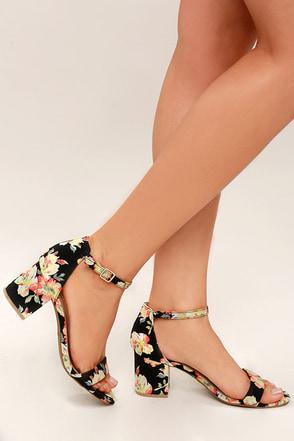 cute black floral print heels  ankle strap heels  block