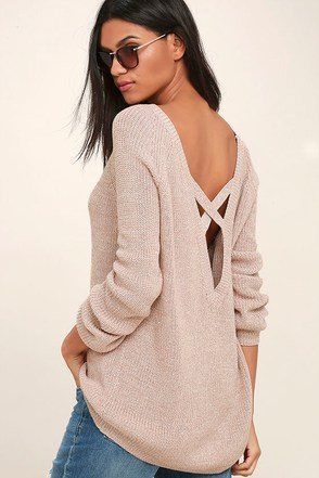 Pursuit of Happiness Beige Backless Sweater 1