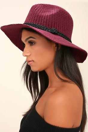 Treescape Burgundy Wool Fedora Hat 1