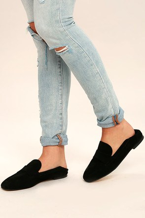 Chinese Laundry Grateful Black Suede Leather Slip-On Loafers 1